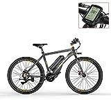 LANKELEISI Vélo électrique de RS600 700C, Batterie de 36V 20Ah, Frein à Disque des Deux, Cadre en Alliage d'aluminium, Endurance jusqu'à 70km, 20-35km / h, vélo de Route. (Grey-LCD, Standard)